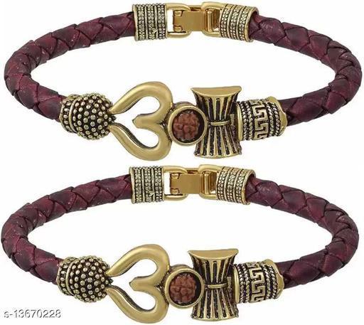 Moksh Spiritual damru trishul om Rudraksh Beads gold Plated Brown rope style Leather kada bracelete fro mens/womens and unisex pack of 2
