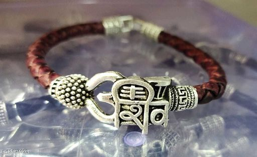 Moksh Spiritual Shiv Rudraksh Beads Silver Plated Brown rope style Leather kada bracelete fro mens/womens and unisex pack of 1