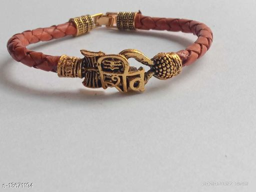 Moksh Spiritual Shiv Rudraksh Beads Gold Plated Brown rope style Leather kada bracelete fro mens/womens and unisex pack of 1