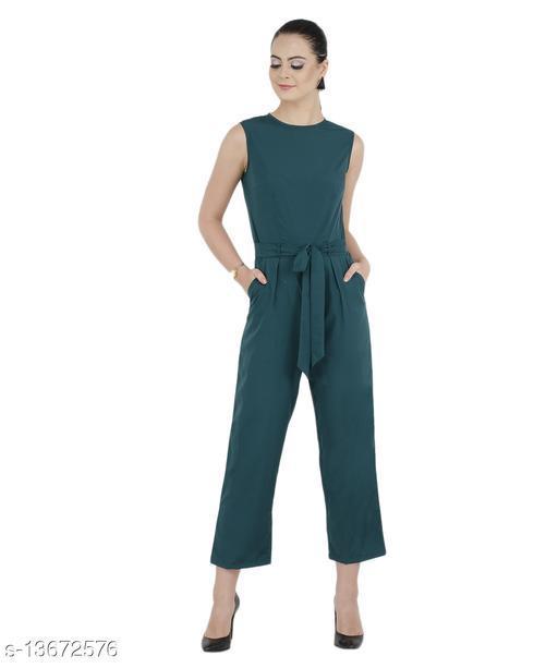 Bahrupiya Clothing Trendy Crepe Womens Dark Green Elegant Jumpsuit