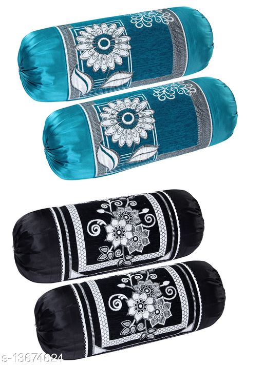 HK Collection Luxury Velvet Bolster Cover (Set of 4 Pieces)