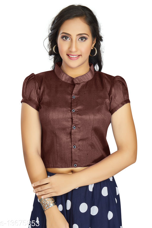Aastha Womens Daily Wear Art Silk Brown color Designer Blouse