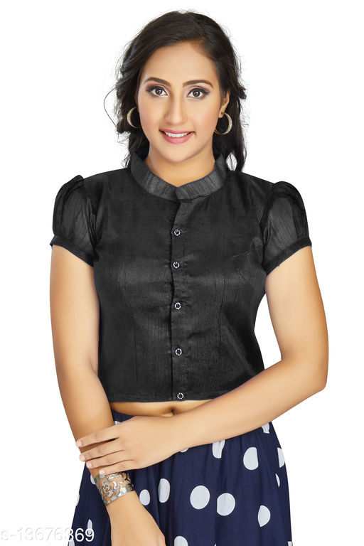 Aastha Womens Daily Wear Art Silk Black color Designer Blouse