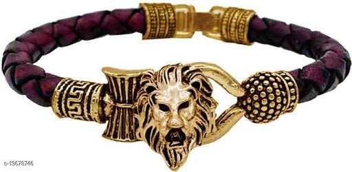 Moksh Spiritual Simba Rudraksh Beads Gold Plated Brown rope style Leather kada bracelete fro mens/womens and unisex pack of 1