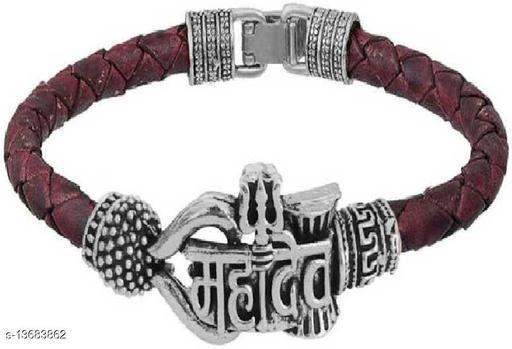 Moksh Spiritual Mahadev Silver Plated Rudraksh beeds Brown Rope Style Leather Kada Bracelet for mens,womens and unisex pack of 1