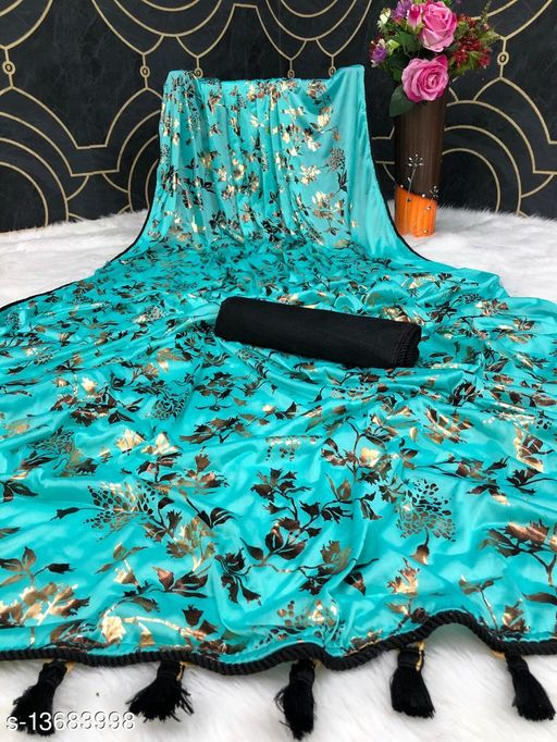 Bittu Fashion Women's Fancy Malai Foil Printed Party Wedding Saree With Resa And Fancy Weaving Less Border Firozi Color