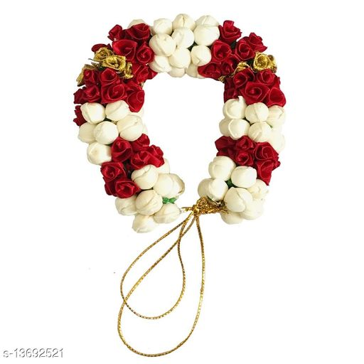 GadinFashion™ Artificial Flower and Mogra Gajra Juda/Accessories Bun For Women, Grils, (Color-Maroon,White,Gold), Pack-01