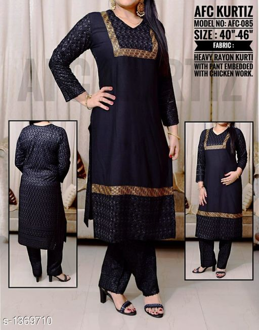 Kurtis & Kurtas Funky Women's Kurti  *Fabric* Kurti  *Sleeves* 3/4 Sleeves Are Included  *Size* Kurti  *Length* Up To 44 in, Palazzo  *Type* Stitched  *Description* It Has 1 Piece Of Kurti With 1 Piece Of Palazzo  *Work* Kurti  *Sizes Available* L, XL, XXL, XXXL   SKU: Afc085 Free shipping is available for this item. Pkt. Weight Range: 500  Catalog Name: Arianna Funky Women's Kurtis Vol 6 - AFC Kurti Code: 0791-1369710--