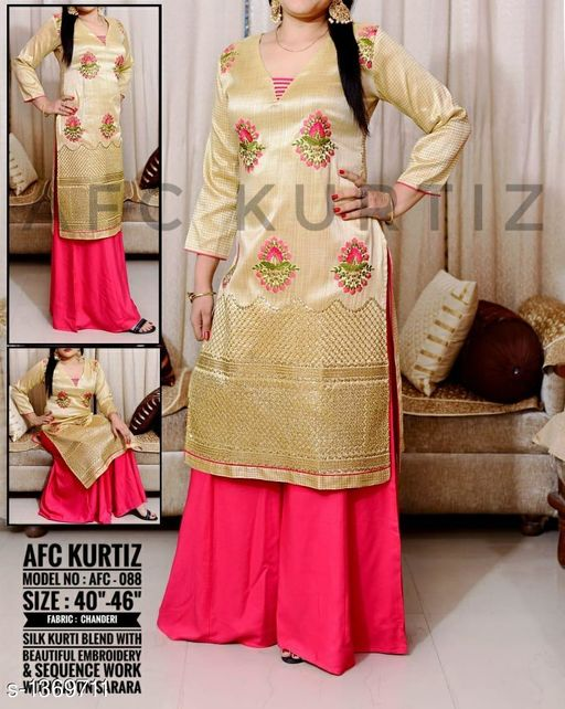 Kurtis & Kurtas Funky Women's Kurti  *Fabric* Kurti  *Sleeves* 3/4 Sleeves Are Included  *Size* Size  *Length* Kurti  *Type* Stitched  *Description* It Has 1 Piece Of Kurti With 1 Piece Of Sharara  *Work* Kurti  *Sizes Available* L, XL, XXL, XXXL   SKU: Afc088 Free shipping is available for this item. Pkt. Weight Range: 500  Catalog Name: Arianna Funky Women's Kurtis Vol 6 - AFC Kurti Code: 0702-1369711--