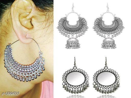 Combo pack of 3 top trending oxidised Silver earrings