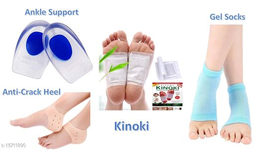 AirSoft Pack Of 4 Anti-Crack Heel, Gel Socks, Ankle Support & Kinoki Detox Patches (Mega Pack, Free Size)