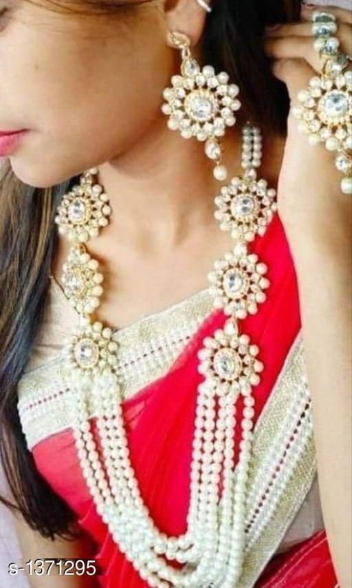 Stunning Crystal Kundan Worked Metal Bridal Jewellery Set