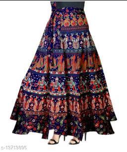 Women Printed Wrap Around Blue Skirt