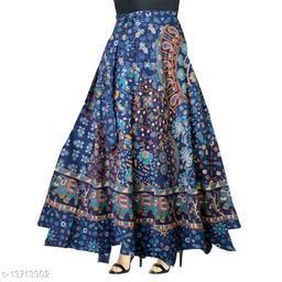 Women Flower Printed Wrap Around Blue Skirt