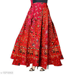 Women Flower Printed Wrap Around Red Skirt