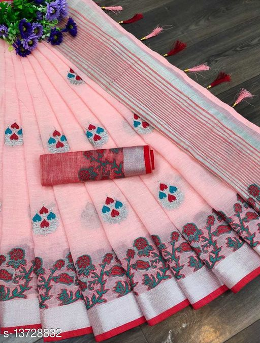 R K Maniyar Women's Special Pure Linen Blend Saree With Very Beautiful Embroidery Work With Weaving Flower Jaquard Border.