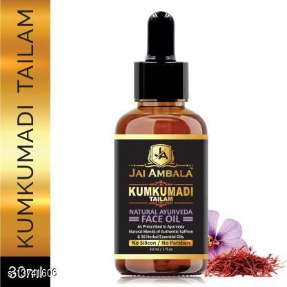 Face Oil & Serums Jai Ambala 100% Pure Kumkumadi Tailam For Radiant Skin For Brightens, Healthy & Glowing Skin- (30 ml) Product Name: Jai Ambala 100% Pure Kumkumadi Tailam For Radiant Skin For Brightens, Healthy & Glowing Skin- (30 ml) Finish: Matte Type: Liquid Multipack: 1 Country of Origin: India Sizes Available: Free Size    Catalog Name:  Premium Ultra Compact CatalogID_2708250 C170-SC2015 Code: 471-13741606-