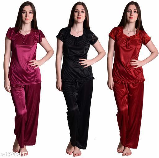 Senslife? Women's Satin Wine, Black, Maroon Half Sleeves Solid Pyjama Set (Pack Of 3)