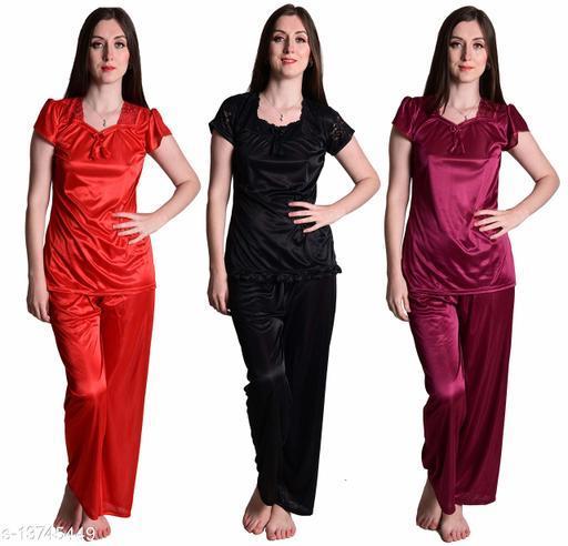 Senslife? Women's Satin Red, Wine Black Half Sleeves Solid Pyjama Set (Pack Of 3)