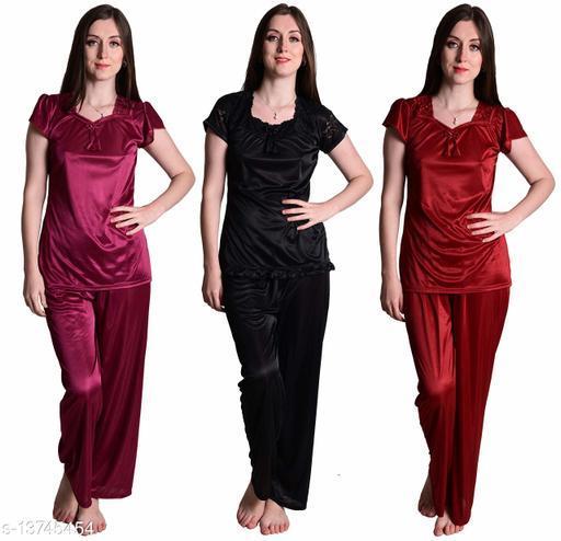 Senslife? Women's Satin Wine, Maroon, Black Half Sleeves Solid Pyjama Set (Pack Of 3)