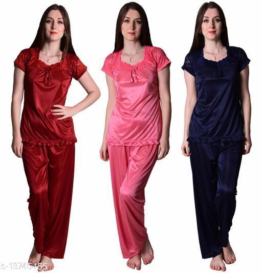 Senslife? Women's Satin Maroon, Coral Pink, Navy Half Sleeves Solid Pyjama Set (Pack Of 3)