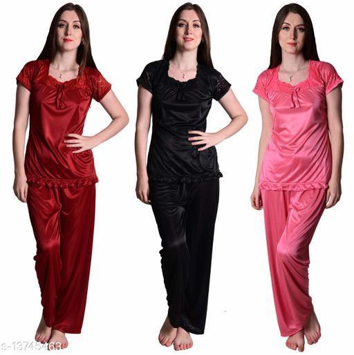 Senslife? Women's Satin Maroon, Black, Coral Pink Half Sleeves Solid Pyjama Set (Pack Of 3)