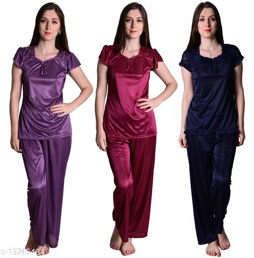 Senslife? Women's Satin Purple, Wine, Navy Half Sleeves Solid Pyjama Set (Pack Of 3)
