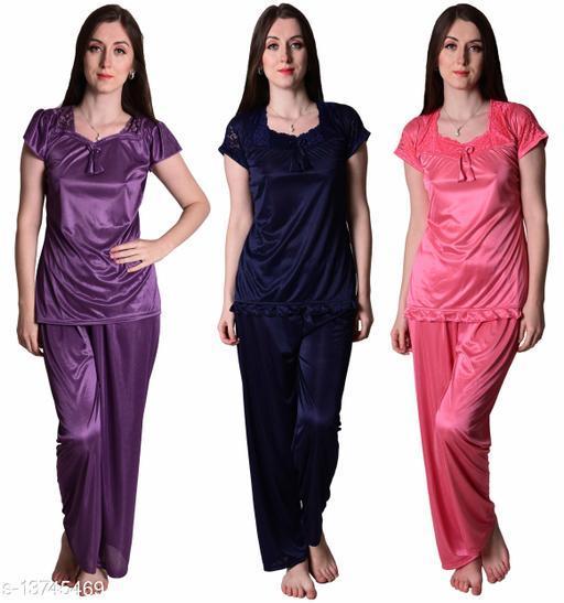 Senslife? Women's Satin Purple, Navy, Coral Pink Half Sleeves Solid Pyjama Set (Pack Of 3)