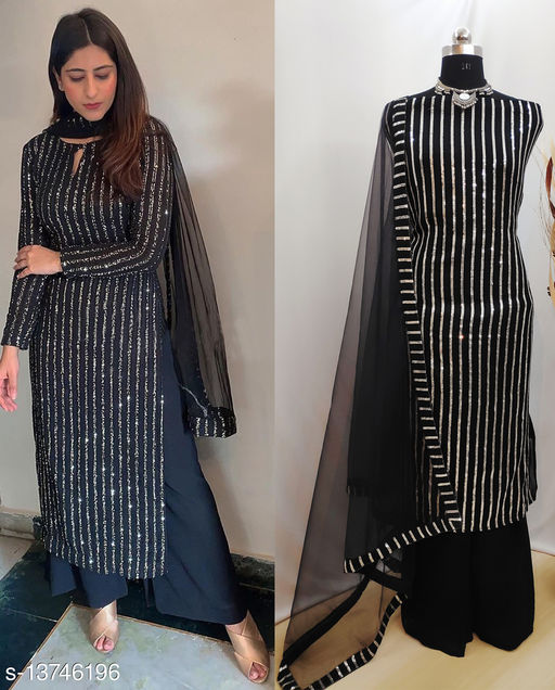 Krishna Tex Black Fox Georgette with sequence Work Plazzo Suit