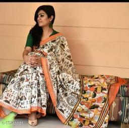 Bagda Presents New Women's Cotton Handmade Bagru Printed Saree with Blouse