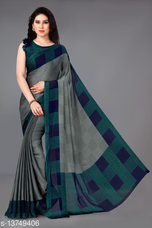 New Fancy Chiffon Checks Print Saree With Unstitched Blouse Piece.