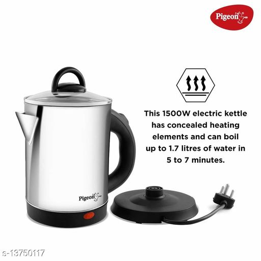Pigeon by Stovekraft Quartz Kettle with Stainless Steel Body, 1.7 Litres with 1500 Watt, Boiler for Water, Milk, Tea, Coffee, Instant Noodles, Soup