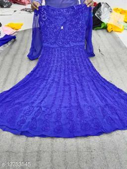 Women Georgette Gown Cape Kurti
