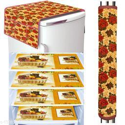 LooMantha Combo Pack of 1 Pc Fridge Top Cover, 1 Pc Handle Cover & 4 Pc Fridge Mats