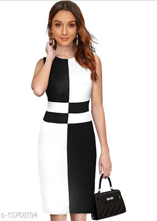 "Checkered Pattern Sleeveless Bodycon Black Western Dress (35""Inches)"