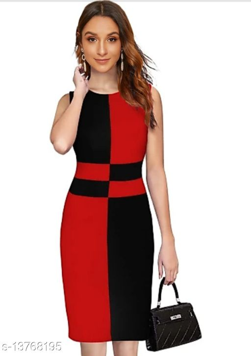 """Checkered Pattern Sleeveless Bodycon Red Western Dress (35""""Inches)"""