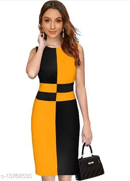 """Checkered Pattern Sleeveless Bodycon Yellow Western Dress (35""""Inches)"""