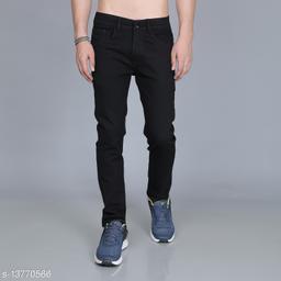 Omanta Men's Denim Black Jeans with red tape on back pocket