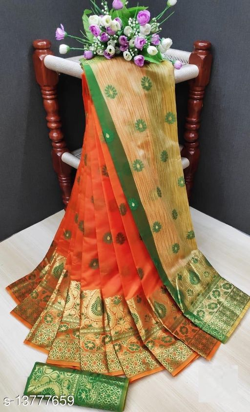 Amazing Orange Cotton Silk Woven Saree With Blouse Piece