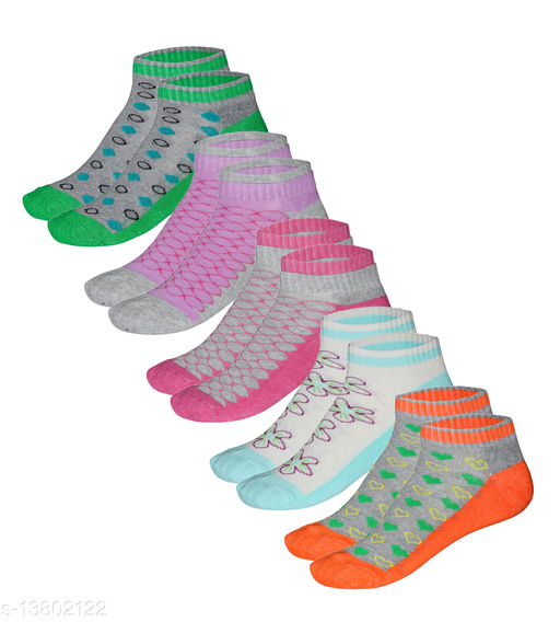 Kothari Printed Ankle Length Socks Pack of 5 for Womens