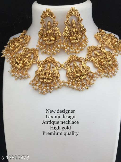 Beautiful laxmiji design antique Gold Plated  Necklace