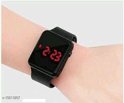 unisex classy black squre cut digital watch for agr group 7 to 17 years children & kids
