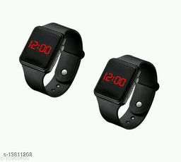 unisex classy pack -2 black digital watches for age group 7 to 17 years children-kids