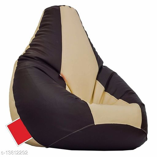 Ink Craft Leatherette Bean Bag Chair With Beans (XL ,Brown & Cream)