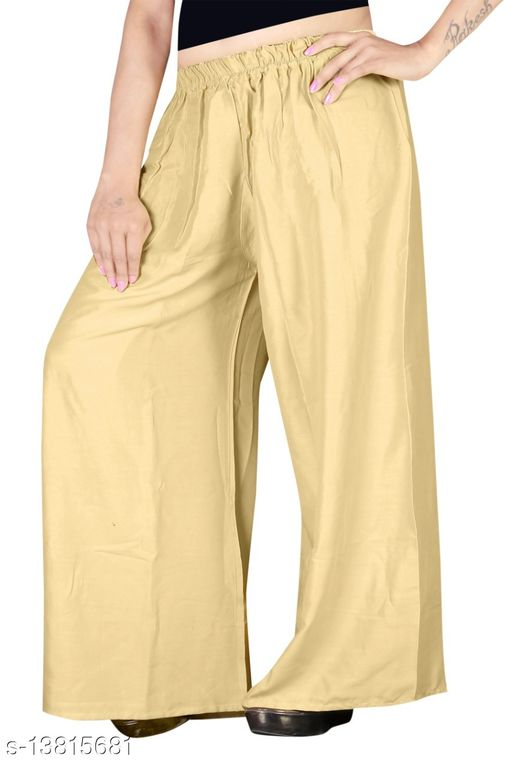 Women's Gold Color Rayon Palazzos.
