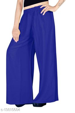 Women's Blue Color Rayon Palazzos.