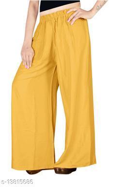 Women's Yellow Color Rayon Palazzos.