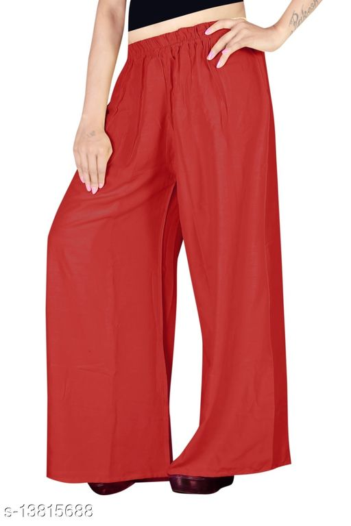 Women's Red Color Rayon Palazzos.