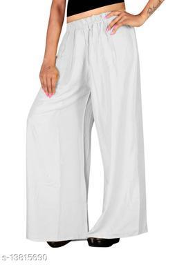 Women's White Color Rayon Palazzos.