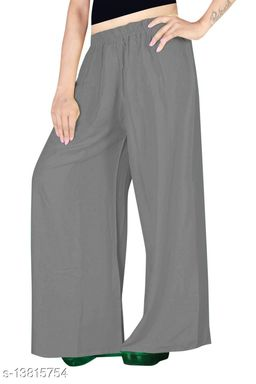 Women's Grey Color Rayon Palazzos.